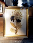 Pressed flowers in a vintage frame.